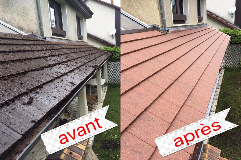 Un avant-après, nettoyage de toiture par un professionnel des couvreurs Les Compagnons