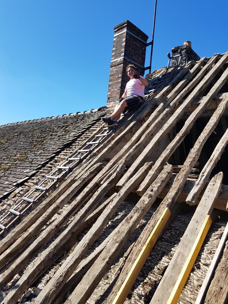 dépose d'une partie de la toiture